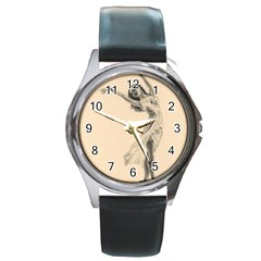 Graceful Dancer Round Leather Watch (silver Rim) by TonyaButcher