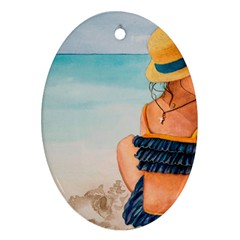 A Day At The Beach Oval Ornament by TonyaButcher