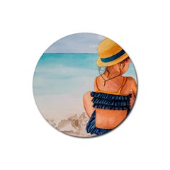 A Day At The Beach Drink Coaster (round) by TonyaButcher
