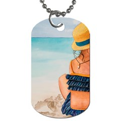 A Day At The Beach Dog Tag (one Sided) by TonyaButcher