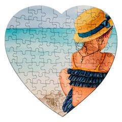 A Day At The Beach Jigsaw Puzzle (heart) by TonyaButcher