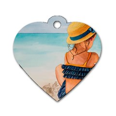 A Day At The Beach Dog Tag Heart (two Sided) by TonyaButcher