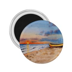 Sunset Beach Watercolor 2 25  Button Magnet by TonyaButcher
