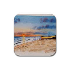 Sunset Beach Watercolor Drink Coasters 4 Pack (square) by TonyaButcher