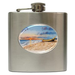 Sunset Beach Watercolor Hip Flask by TonyaButcher