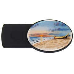 Sunset Beach Watercolor 2gb Usb Flash Drive (oval)