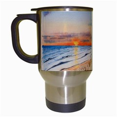 Sunset Beach Watercolor Travel Mug (white) by TonyaButcher