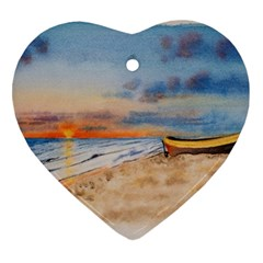 Sunset Beach Watercolor Heart Ornament (two Sides) by TonyaButcher