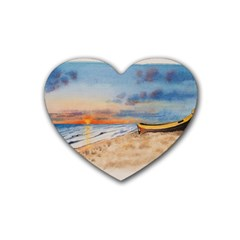 Sunset Beach Watercolor Drink Coasters (heart) by TonyaButcher