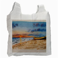 Sunset Beach Watercolor White Reusable Bag (two Sides) by TonyaButcher