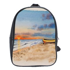 Sunset Beach Watercolor School Bag (large) by TonyaButcher