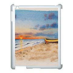 Sunset Beach Watercolor Apple Ipad 3/4 Case (white) by TonyaButcher