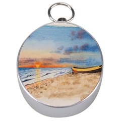 Sunset Beach Watercolor Silver Compass by TonyaButcher