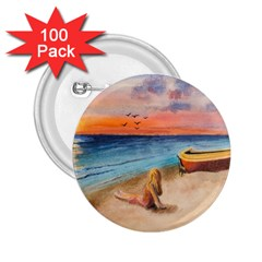 Alone On Sunset Beach 2 25  Button (100 Pack)