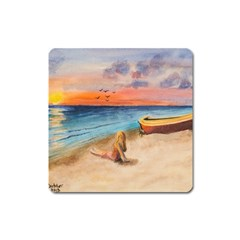 Alone On Sunset Beach Magnet (square) by TonyaButcher