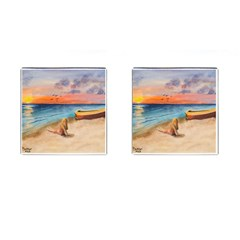 Alone On Sunset Beach Cufflinks (square) by TonyaButcher