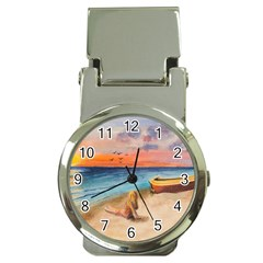 Alone On Sunset Beach Money Clip With Watch