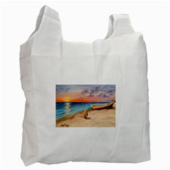 Alone On Sunset Beach White Reusable Bag (two Sides)