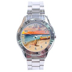 Alone On Sunset Beach Stainless Steel Watch