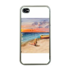 Alone On Sunset Beach Apple Iphone 4 Case (clear) by TonyaButcher
