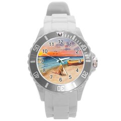 Alone On Sunset Beach Plastic Sport Watch (large) by TonyaButcher