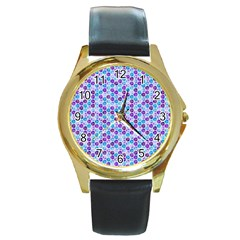 Purple Blue Cubes Round Leather Watch (gold Rim)  by Zandiepants