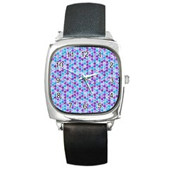 Purple Blue Cubes Square Leather Watch by Zandiepants