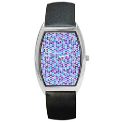 Purple Blue Cubes Tonneau Leather Watch