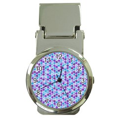Purple Blue Cubes Money Clip With Watch by Zandiepants