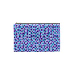 Purple Blue Cubes Cosmetic Bag (small) by Zandiepants