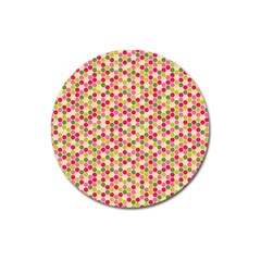 Pink Green Beehive Pattern Magnet 3  (round) by Zandiepants