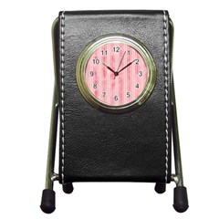 Pink Grunge Stationery Holder Clock by StuffOrSomething