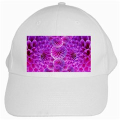 Purple Dahlias White Baseball Cap