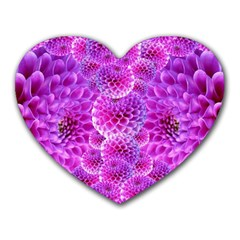 Purple Dahlias Mouse Pad (heart) by FunWithFibro