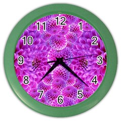 Purple Dahlias Wall Clock (color) by FunWithFibro