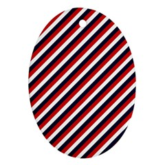 Diagonal Patriot Stripes Oval Ornament (two Sides) by StuffOrSomething