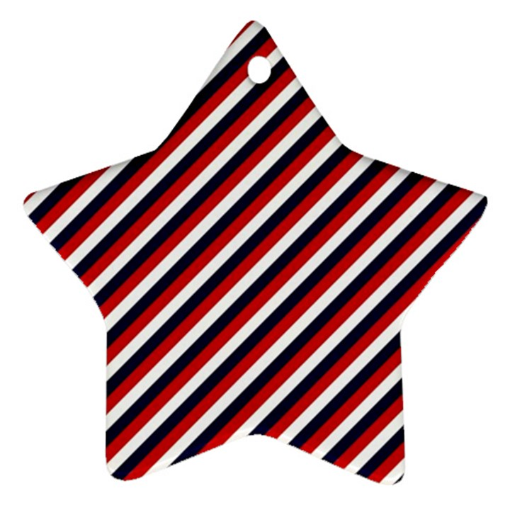 Diagonal Patriot Stripes Star Ornament (Two Sides)