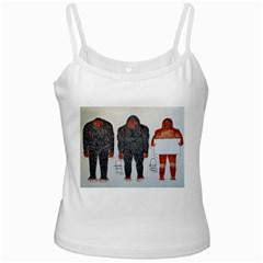 3 Bigfoot, H, A, S, On White, White Spaghetti Tank
