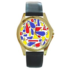 Silly Primaries Round Leather Watch (gold Rim)