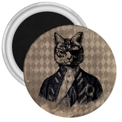 Harlequin Cat 3  Button Magnet by StuffOrSomething