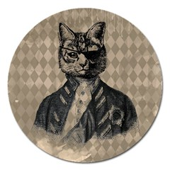 Harlequin Cat Magnet 5  (round) by StuffOrSomething