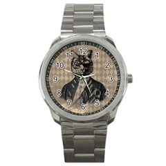 Harlequin Cat Sport Metal Watch by StuffOrSomething