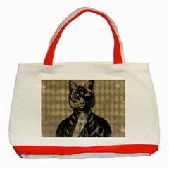 Harlequin Cat Classic Tote Bag (red) by StuffOrSomething