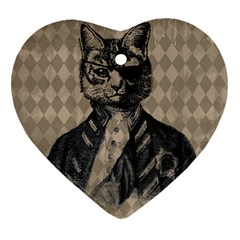 Harlequin Cat Heart Ornament (two Sides) by StuffOrSomething