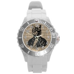 Harlequin Cat Plastic Sport Watch (large) by StuffOrSomething