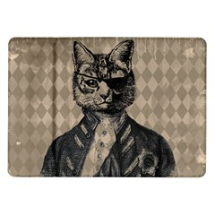 Harlequin Cat Samsung Galaxy Tab 10 1  P7500 Flip Case by StuffOrSomething