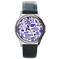 Silly Purples Round Leather Watch (silver Rim) by FunWithFibro