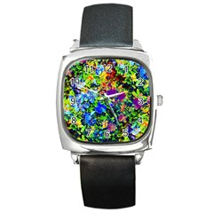 The Neon Garden Square Leather Watch by rokinronda