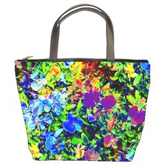 The Neon Garden Bucket Handbag by rokinronda