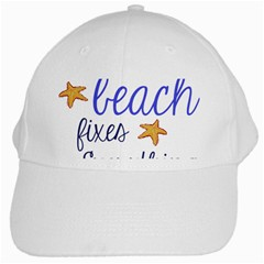 The Beach Fixes Everything White Baseball Cap by OneStopGiftShop